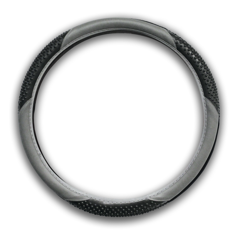 Grey and Black Massage Vinyl Steering Wheel